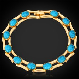 New Fashion Turquoise Bracelets Bangles For Women 18K Real Gold Plated Jewelry Bangles Turkey Stone Fashion Jewelry MGC H5148