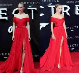 Red Carpet Evening Dresses 2016 Off Shoulder A Line Sweep Train Side Split Backless Vestidos De Fiesta Prom Dress Formal Pageant Gowns