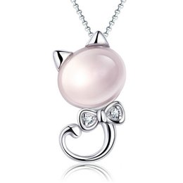 30% 925 Sterling Silver 5kt Natural Rose Quartz White Gold plating Shining Swiss Diamond Miao Cat Pendant Necklace