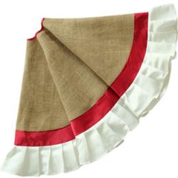 Wholesale Extra Large quot Diameter with Patchwork Ruffler Border Burlap Christmas Tree Skirt