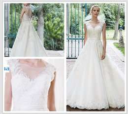Wholesale Scalloped Sweetheart Tulle Ball Gown - 2016 tulle ball gown with crystals appliques bodice and illusion neck scalloped lace hemline satin belt Bellissima Wedding Dresses