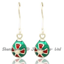 Handmade enamel jewelry fancy Easter egg pearl Faberge style drop earrings Happy holidays Christmas Mothers Day