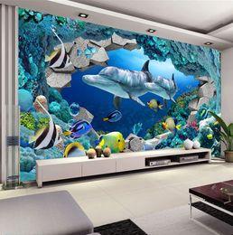 Underwater World Photo Wallpaper Custom 3D Wall Murals Cute Dolphin wallpaper Children's room Boys Bedroom Interior Design Art Room decor