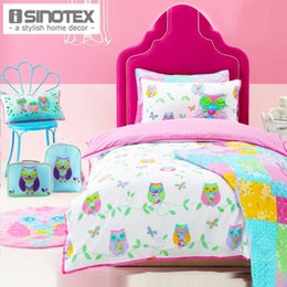 Wholesale Owl Song Cotton Cartoon Children Bedding Set Bedclothes Kids Duvet Quilt Cover Pillow Case Cover Printed Set jogo de cama