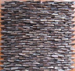 Wholesale D mother of pearl tile Decorative shell mosaics stiffened backsplash tile kitchen bathroom wall designs ideas tile Coffee color