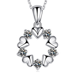 Wholesale 925 Sterling Silver Necklace Sterling Silver Crystal Pendant Necklace female flowers and short necklace silver jewelry