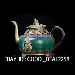 Wholesale Collectible Decorated Old Handwork Jade Tibet Silver Dragon Tea Pot Monkey Lid