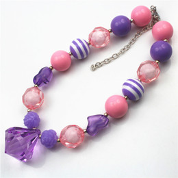 Purple Waterdrop Chunky Children Girls Bubblegum Chunky Necklace Girls Necklace CB538
