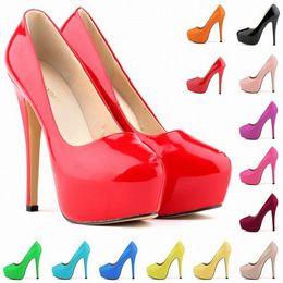 Wholesale 13 bright colours work sexy wedding party pumps cm platform women round toe high heels pumps Big Size