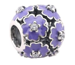 Sterling Silver Charms 925 Enameled Purple Flower Charms for Bracelets DIY Floral European Beads Accessories 3 Colors