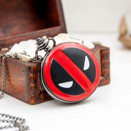 Wholesale 2016 Deadpool Dead Pool Pocket Watch Necklace Pendant Modern Antique Retro Metal Popular DEADPOOL Pocket Chain Unisex Quartz Best Gift