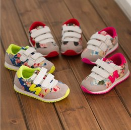 Fashion 2015 Spring Kids Flower Floral Breathable Casual Shoes Girls Anti-slip Sports Running Sneakers