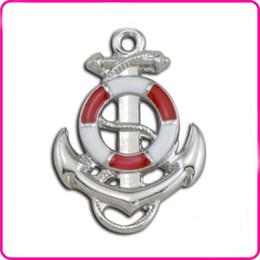 Enamel DIY Charms Red Blue Anchor Shape Charms Alloy Enamel Pendant Charms Wholesale 10pcs AAC845