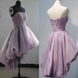Hi Lo Short Party Dresses 2016 Strapless Ruched A line Organza Homecoming Bridesmaid Dress Custom made