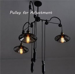 Wholesale Fashion Aemrican Nostalgic Retro Industrial Country Style Pendant Suspension Lamp Bar Adjustable Pendant Lights Pulley Height