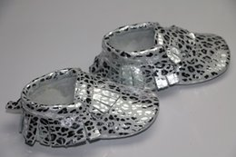 Baby Boys girls Silver And Golden leopard color Tassel Genuine leather Infant Kids first walking Shoes 1000pairs lot