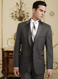 Charcoal Grey Groom Tuxedos Best Man Peak Grey Lapel Groomsmen Men Wedding Suit Groom Tuxedos (Jacket+Pants+Vest) q89