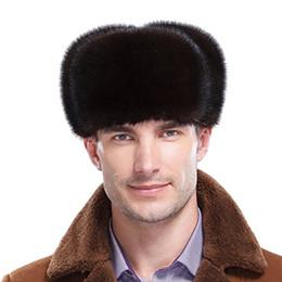 Hombre trapper en Línea-Rancho genuina Criado premium Mink Hombres invierno de la piel rusos ushanka Trapper Sombreros 2 de los colores de los hombres del bombardero con orejeras tapones de transporte gratuito