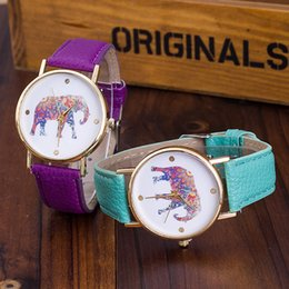 Free Shipping 2015 women elephant design flower printing ladies leather PU wrist watch fashion dress quartz watches A-150