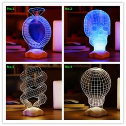 En forme de spirale WAKE UP Creative 3D illusion optique Bois Skull Ampoule LED de trompette de port Lampe de table éclairage à économie d'énergie Lampe gratuit à partir de énergie ups fabricateur