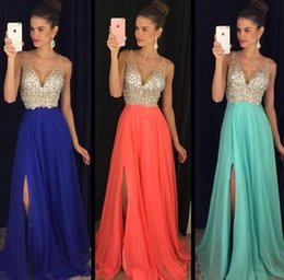 2017 New Sparkling Prom Dresses Sheer V Neck High Split Side A Line Chiffon Backless with Crystal Custom Pageant Dresses