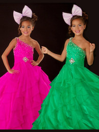 Mix Color and Size A Line Girls Pageant Dresses One Shoulder Beads Cascading Ruffles Backless Floor Length Girls Party Dress Pageant Gowns