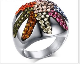 Wholesale new stainless steel colorful CZ diamond ring Starfish shape high quality ring mix size RC