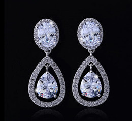 Wholesale Shiny Women Crystal Stud Earrings Tear Drops Rhinestone Bridal Earrings Jewelry Bridesmaid Party Earrings