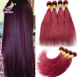 Vietnamese Virgin Hair Straight 99J 4Pcs Lot Burgundy Hair Weaves 8-30Inch 100% Unprocessed Remy Human Hair Extensions No Tangle No Shedding