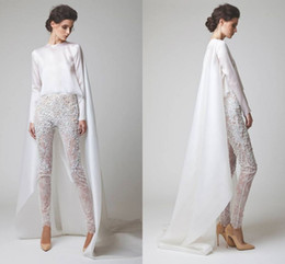 2016 Sexy White Evening Dresses Two Pieces Chiffon Lace Pearl Trousers See Through Long Sleeves Elio Abou Fayssal Evening Gowns With Jacket