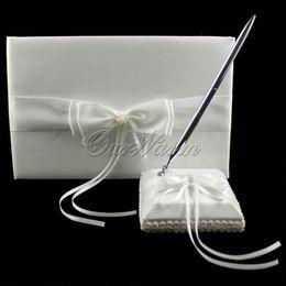 Wholesale 2Pcs set Guest Book Pen Set New Noble Artificial Bead Satin for Wedding Ceremony Bridal Product Supplies ZZJ