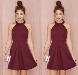 Wholesale Sexy Short Cocktail Party Dresses Halter Backless Burgundy A Line Above Knee Length Prom Homecoming Gowns Custom Made Women Formal Wear