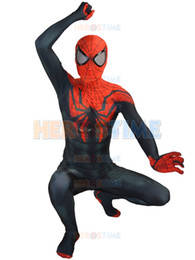 2015 New Superior Spider-Man Costume Lycra Spandex Black Red Fullbody Halloween Spiderman Costume The Most Classic Zentai Suit Free Shipping