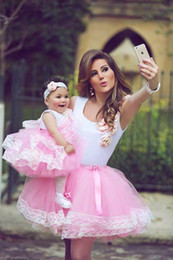 Lovely Cute Pink Mother And Daughter Party Dresses Short Flower Girls Dresses Tulle Ball Lace Edge Party Dresses