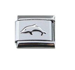 Womens jewelry 9mm classic emboss dolphin Italian charm bracelet stainless steel modular charms link fits Nomination
