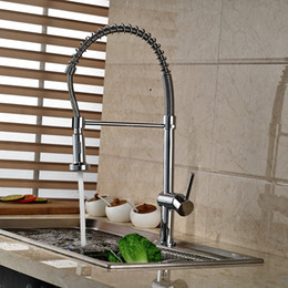 "Wholesale And Retail 22"" Tall Chrome Brass Kitchen Faucet Swivel Spout Vessel Sink Mixer Tap Single Handle Hole"