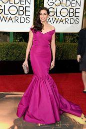 Cheap Long Mermaid Off Shoulder Evening Gowns 73rd Golden Globe Awards 2016 Formal Celebrity Red Carpet Dresses Michaela Watkins