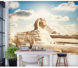 Free shipping Egyptian Sphinx scenic mural office living room bedroom 3D wallpaper television background Custom sizes