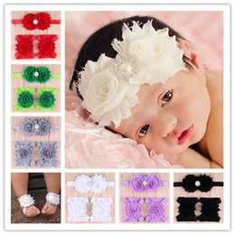 Wholesale Shabby Headband Foot Flower - baby shabby flower pearl rhinestone headband + foot flower or wrist flower 3-pcs set children hair band kids colorful headwear cute gift