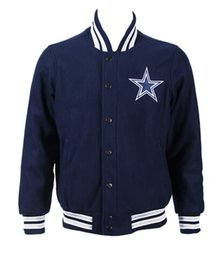 Wholesale New Football Jackets Dallas Team Jacket Dark Blue Size S XXXL High Quality Stitched Mix Match Order American Football Jackets
