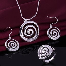 High grade 925 sterling silver Smooth spiral three-piece jewelry sets DFMSS627 Factory direct sale wedding 925 silver necklace earring ring