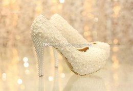 Wholesale Hot Sales Lace Flowers Pearls Bride Bridesmaid CM High Heels Party Prom Shoes Fashion Ivory Wedding Women s Dress Shoes DL11220