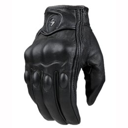 Wholesale Real Leather Full Finger Motorcycle Gloves Black moto men Motorcycle Protective Gears fashion gloves