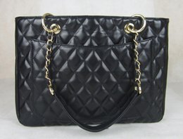 Wholesale 2015 new Channelled bag sheepskin quality chain women s shoulder bag black genuine leather handbag purses