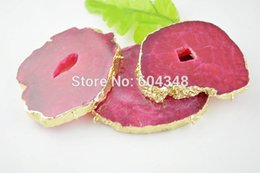 3pcs Large Geode Druzy Slice Agate Pendant, Drusy Gem stone Connector Beads & Pendants, Rose Red Gold plated Edged Druzy Pendant
