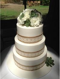 Wholesale-10 meter Natural Jute Burlap Hessian Ribbon + Ivory Lace Trim Edge Vintage Wedding decoration Rustic
