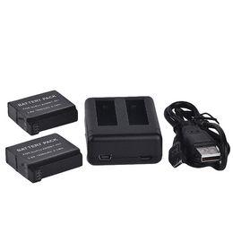 Usb gopro en venta-2PCS Gopro 4 batería de la cámara de la acción Li-ion 1600mah + puerto dual del USB Vaya el favorable cargador AHDBT-401 de las baterías del héroe 4