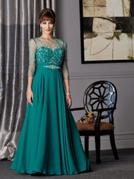 Formal 2016 Evening Dresses Hunter Green Long Sleeve Elegant bride's mother dress Beads Floor Length Long Gowns