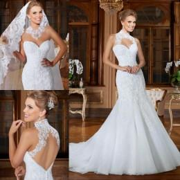 2016 Mermaid Wedding Dresses with Detachable Straps Bridal Gowns Backless Sweetheart Sleeveless Beaded Appliques Wedding Gowns