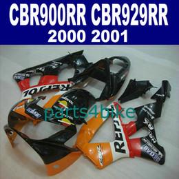 Cheap body fairings for HONDA CBR929RR fairing kit CBR 929 2000 2001 red black REPSOL bodykits CBR 900 RR 00 01 CBR900RR HB79